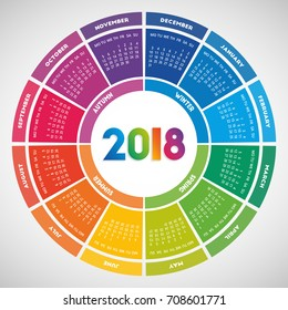 Colorful round calendar 2018 design. Week starts on Monday