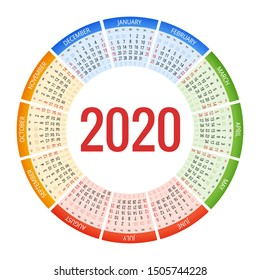 Colorful round calendar 2020 design, Print Template, Your Logo and Text. Week Starts Sunday. Portrait Orientation. 2020 Calendar of 12 Months.