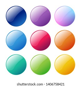 Colorful round, circle glossy buttons set. Vector assets for web or game design, app buttons, icons template isolated on white background.