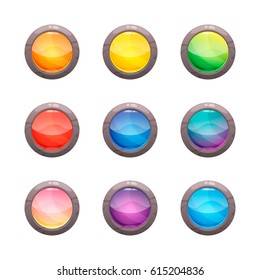 Colorful round glossy buttons in a stone frame set, vector assets for web or game rocky design, app icons vector template isolated on white background.