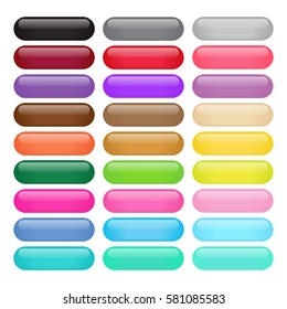 Colorful Round Rectangle Glossy Buttons, Vector illustration
