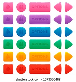 Colorful round, square, rectangular buttons set. Play, pause, options and arrow buttons. Assets for web or game design, app icons vector template isolated on white background.