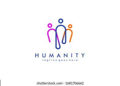 Colorful Rounded Line Linked Human Icon People Logo. Flat Vector Logo Design Template Element