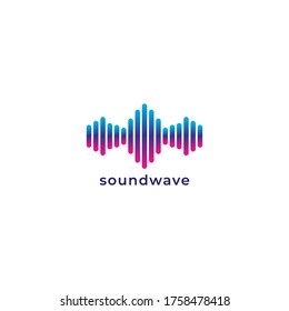 Colorful rounded spectrum bar audio signal vector illustration. Logo design template. Isolated on white background. Blue violet magenta gradation color.