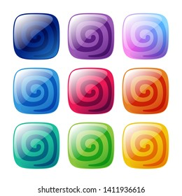 Colorful rounded square glossy candies with spirals set. Vector assets for web or game design, app buttons, icons template isolated on white background.