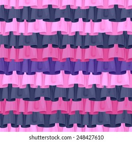 Colorful ruffles seamless pattern. Frills background - pink, black, purple.