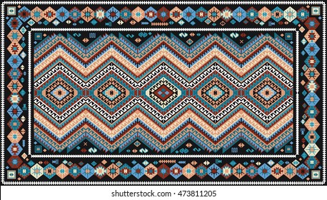 Colorful rug with traditional folk geometric pattern. Carpet border frame pattern. Vector 10 EPS illustration.