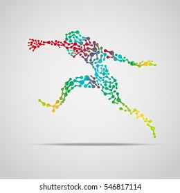 colorful running man, abstract sport man, concept of sport science