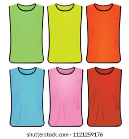 Colorful safety vest set. vector illustration