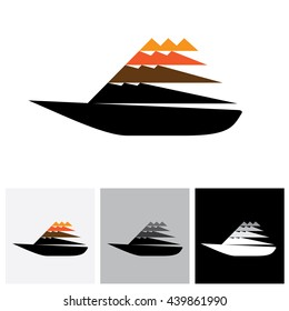 Colorful sailboat or yatch vector logo icon moving fast. The also represents any small watercraft for travel or fishing purposes traveling at high speed