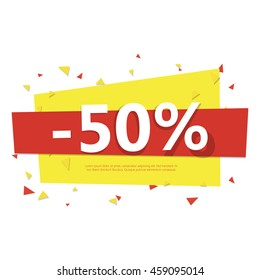 Colorful sale badge. Geometric design with flying particles. Half price off. Vector illustration.