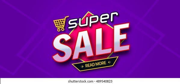 Colorful sale banner. Super sale inscription. Vector format