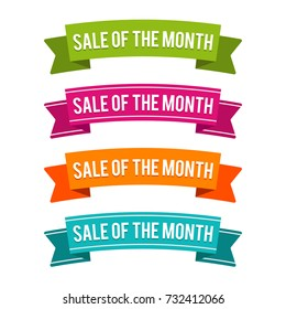 Colorful Sale of the Month ribbons. Eps10 Vector.