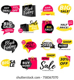 Colorful sale stickers collection. Sale badges. Online shopping, sale and promotion, website and mobile badges, promo banners, special offer, shopping vector illustration design and marketing material