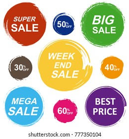 Colorful sale tags in grunge style. Super sale, big sale, mega sale, best price.