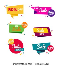 Colorful sales badges and tags vector collection. Origami style.