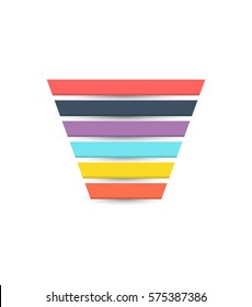 Colorful Sales Funnel with 6 stages of the sales process. Vector illustration.