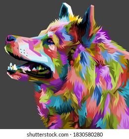 colorful Samoyed dog head with cool isolated pop art style backround. WPAP style