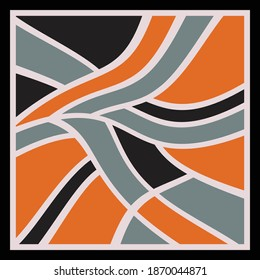 Colorful scarf pattern design. Geometric ornament with frame, border. Bandanna, shawl, scarf, tablecloth design for textile fabric print
