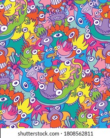 Colorful scary monsters and weird creatures in doodle art style. They compose a seamless pattern design full of decorative birds, reptiles, fishes and whimsical characters, spooky and mischievous