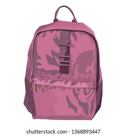 Colorful schoolbag with school supplies. Backpack with zippers isolated on white background. Vector illustration.