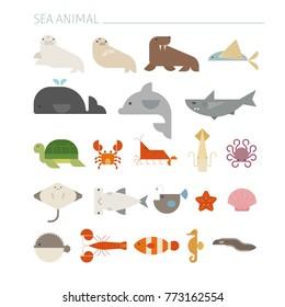 Colorful Sea animal set geometric icon vector illustration flat design