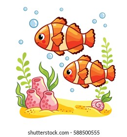 Colorful sea fish Reef fish , clown fish or anemone fish with seaweeds on sea bottom
