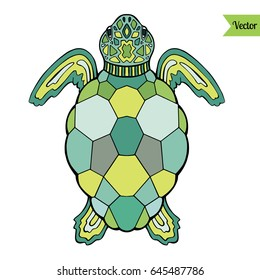 Colorful sea turtle vector isolated on white.