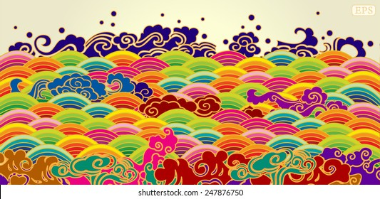 Colorful sea wave pattern