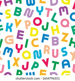 Colorful seamless alphabet pattern with bold latin letters. Brigth children repeatable background. Funky vibrant print. Can be used like wrapping paper, textile cover, wallpaper and etc.