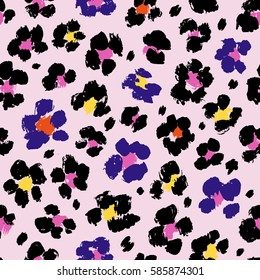 Colorful seamless animal print. Vector background with leopard spots