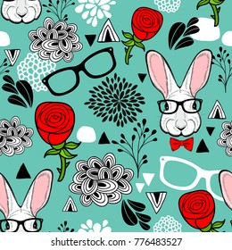 Colorful seamless background with hipster rabit and red roses. Romantic illustration in vector.