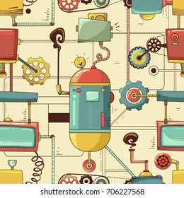 Colorful Seamless Background Illustration Featuring a Complex System of Gears and Pipes