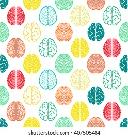 Colorful seamless brain pattern. Scientific background.