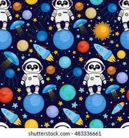 Colorful seamless cartoon space pattern with panda astronauts, rockets, planets, stars on starry night sky background, vector illustration. Cute and bright space travel seamless pattern