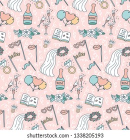 Colorful seamless doodle pattern with bachelorette party decorations. Selfie stick,  ballons, props, veil, champagne, diamond rings, roses, signing book. Pink background. Background design element.