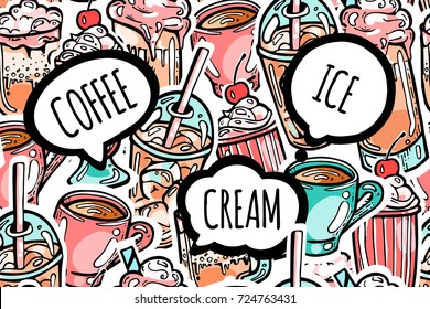 Colorful seamless drinks pattern . Cappuccino, coffee, milkshake, cocktail and speech bubbles with phrases coffee, ice, cream. Sticker line art design for web or print background.