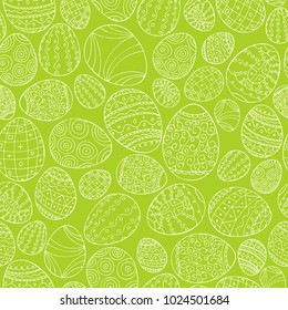 Colorful seamless easter pattern in doodle style. Hand drawn background - ornamental design.