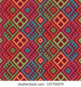 colorful seamless ethnic pattern background in bright colors, vector illustration