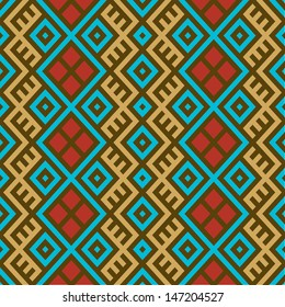 Colorful seamless ethnic pattern background in magenta blue, red, brown and gold colors. Vector file editable, scalable and easy color change. Can use it for packaging, textile design and scrapbooking