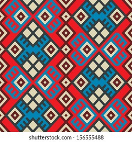 colorful seamless ethnic pattern background in bright blue, red and white colors, vector illustration