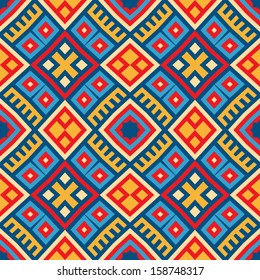 Colorful seamless ethnic pattern background in red,  blue, red, yellow colors. Vector file editable, scalable and easy color change. Can use it for packaging, textile design and scrapbooking