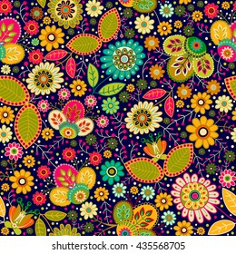 Colorful seamless floral pattern. Bright summer backdrop. Flowers wallpaper