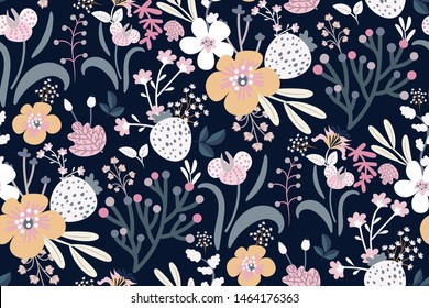Colorful seamless floral pattern with different kinds of colors on dark blue background. Original print, creative Wallpaper, fashion template... Vector hand-drawn illustration.