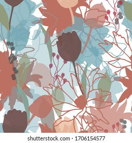 Colorful seamless floral pattern with hand draw spring flower. Vector 10 EPS for your creative design
