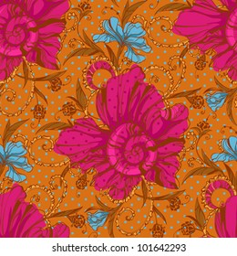 Colorful seamless floral texture