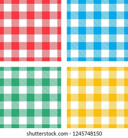 Colorful seamless gingham patterns for picnic tablecloth design
