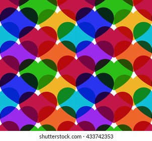 Colorful seamless hearts vector pattern