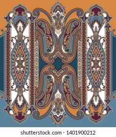 colorful seamless paisley border. traditional paisley design vector