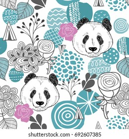 Colorful seamless pattern with abstract circles and panda heads.  Endless background with panda. Vector illustration for children and adults.